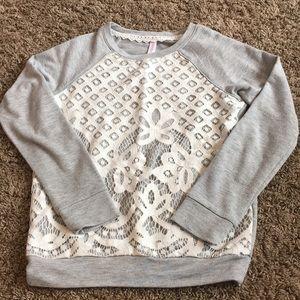 Gently used girls lace sweatshirt